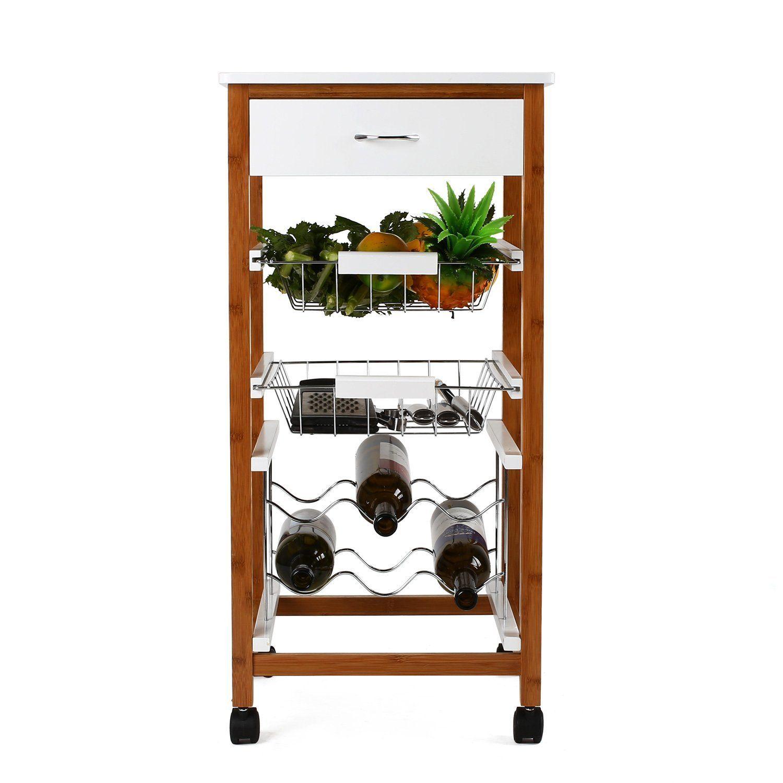 HOMFA Servierwagen Küchenrollwagen Küchenwagen aus Bambus ...