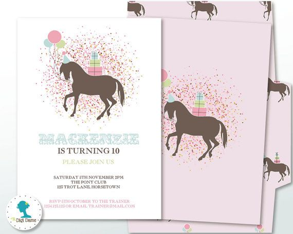 Pony/Horse Printable Party Invitation in Pink Mint & by digidame