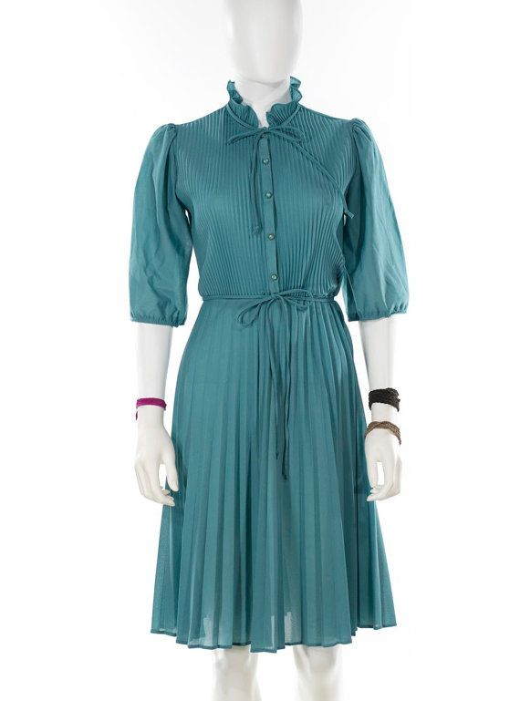 Vintage Turquoise Shirt Dress Fit and Flare by FiregypsyVintage