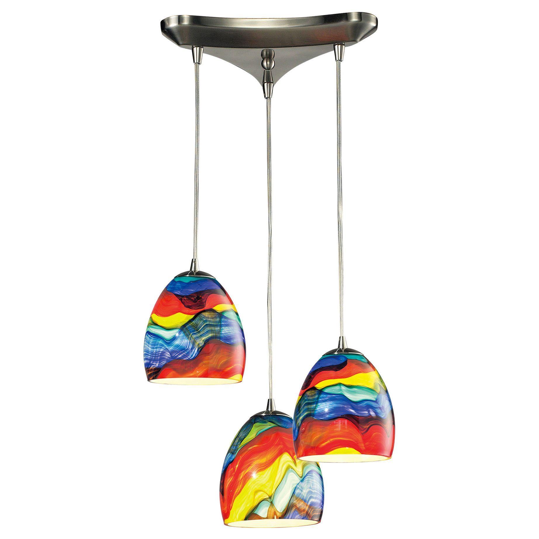 Elk lighting colorwave light satin nickel glass chandelier