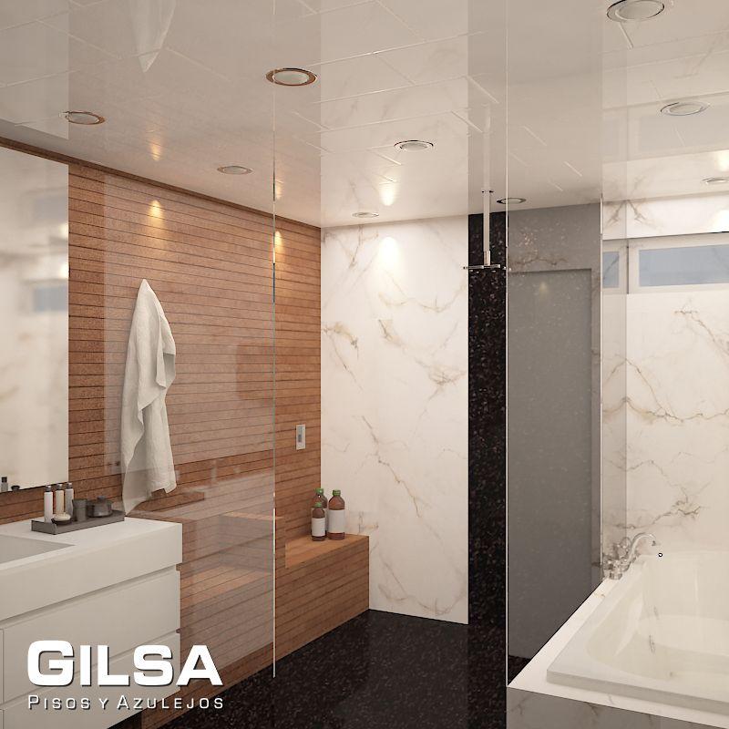 Cuarto de baño de estilo contemporáneo. Materiales utilizados: (En ...