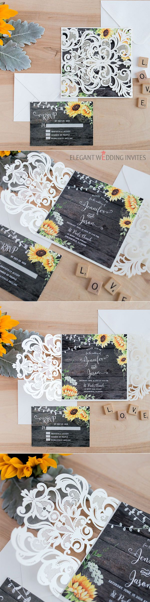 Rustic watercolor yellow sunflower barn wood wedding invitation ...
