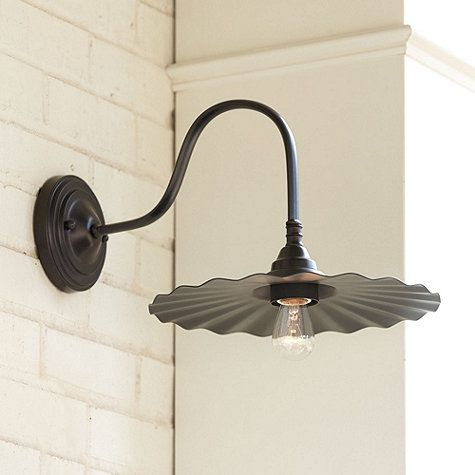 """Logan Goose Neck Outdoor Wall Sconce --- Overall: 9""""H X 11 3/4""""W X 16 1/2""""D Back Plate: 5"""" Diameter"""