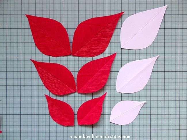 Diy Crepe Paper Poinsettia Mitered Crepe Paper Leaves Tutorial Paper Flowers Paper Flower Tutorial Paper Flowers Diy