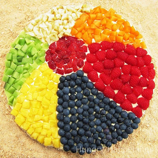 beach ball fruit pizza!  great for a summer party!  i love fruit pizza!!!!!