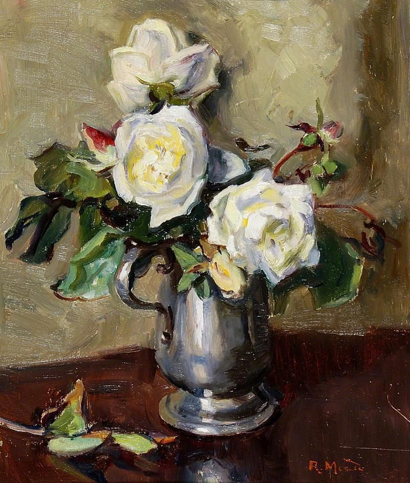 White Roses in a Pewter Mug  by Rose Mead