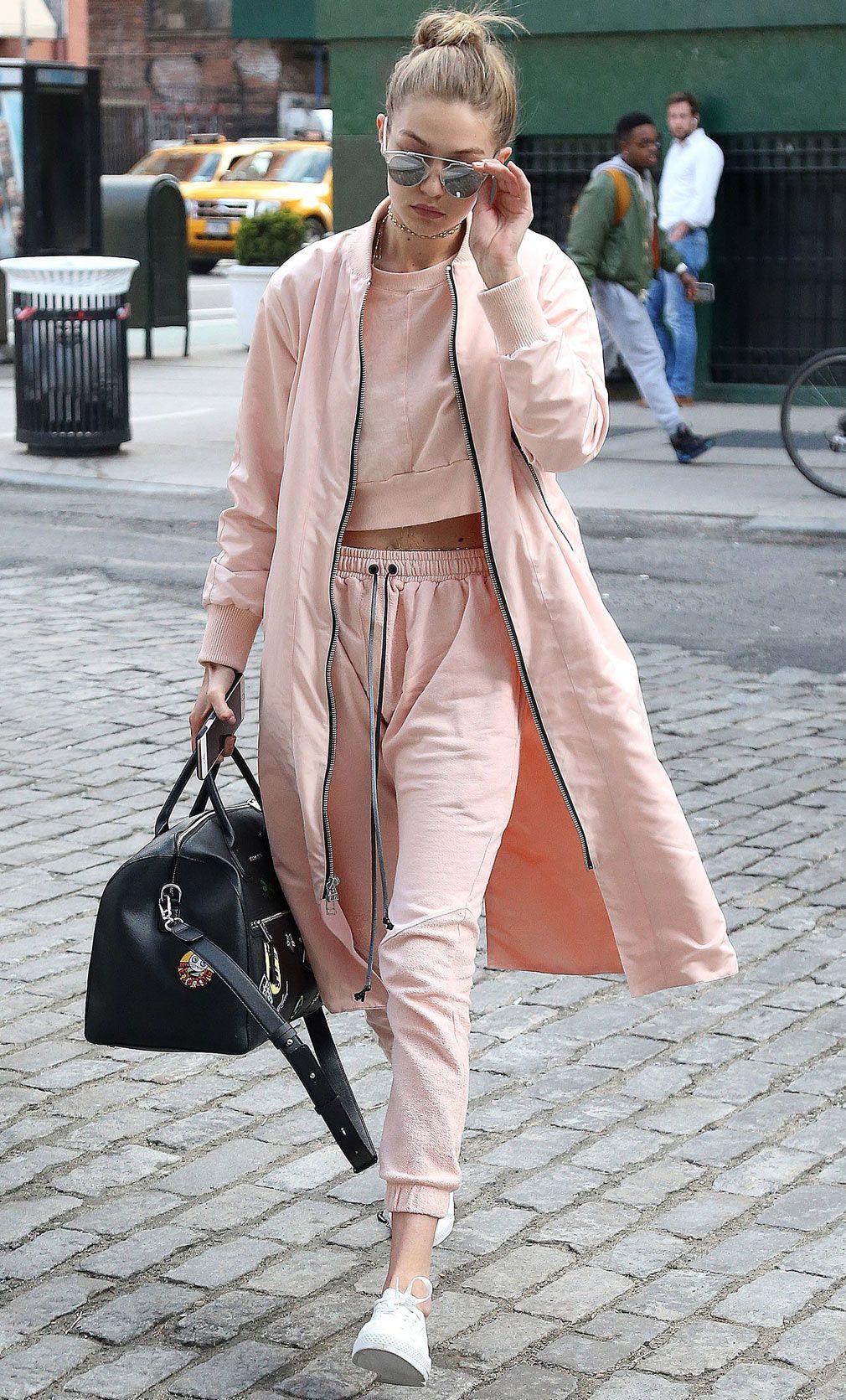 Look Of The Day Gigi Hadid Loungewear Joggers Sweater
