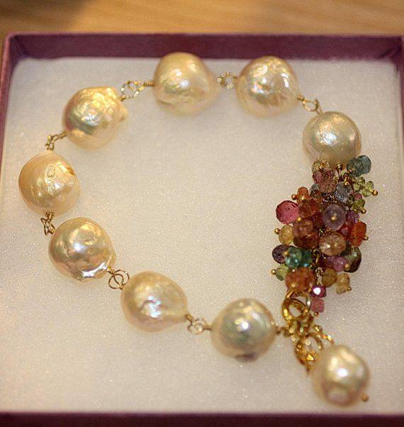 04910106ead7 Agua dulce perlas y piedras preciosas pulsera Boho barroco