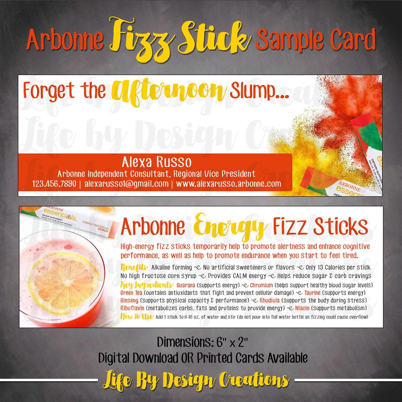 fizz stick sample cards printed arbonne pinterest
