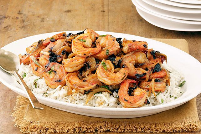 Creamy, cheesy, cilantro-flecked rice is the ideal palette for this Three-Chile BBQ Shrimp with Cheesy Rice. Bonus: It serves 6—in less than 30 minutes.
