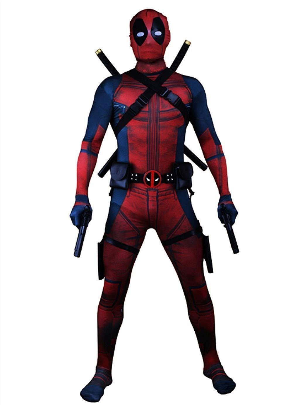 Kids Halloween Deadpool Cosplay Costume Lycra Zentai Bodysuit Jumpsuit set 2019