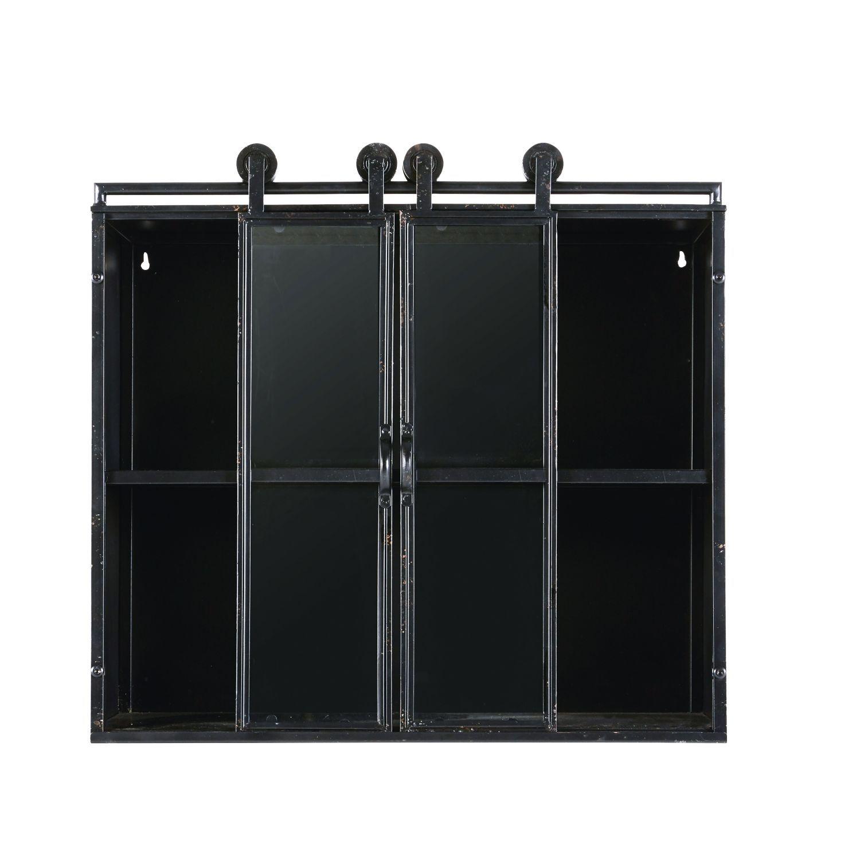Regal im Industriestil aus Glas und schwarzem Metall