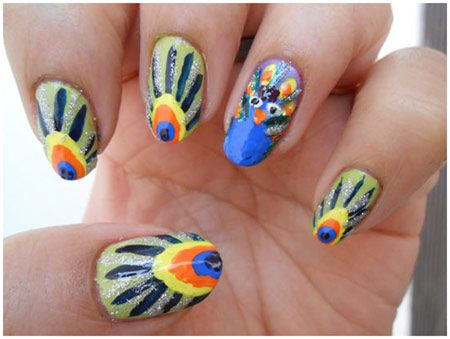 50 Animal Themed Nail Art Designs To Inspire You Peacock Nail