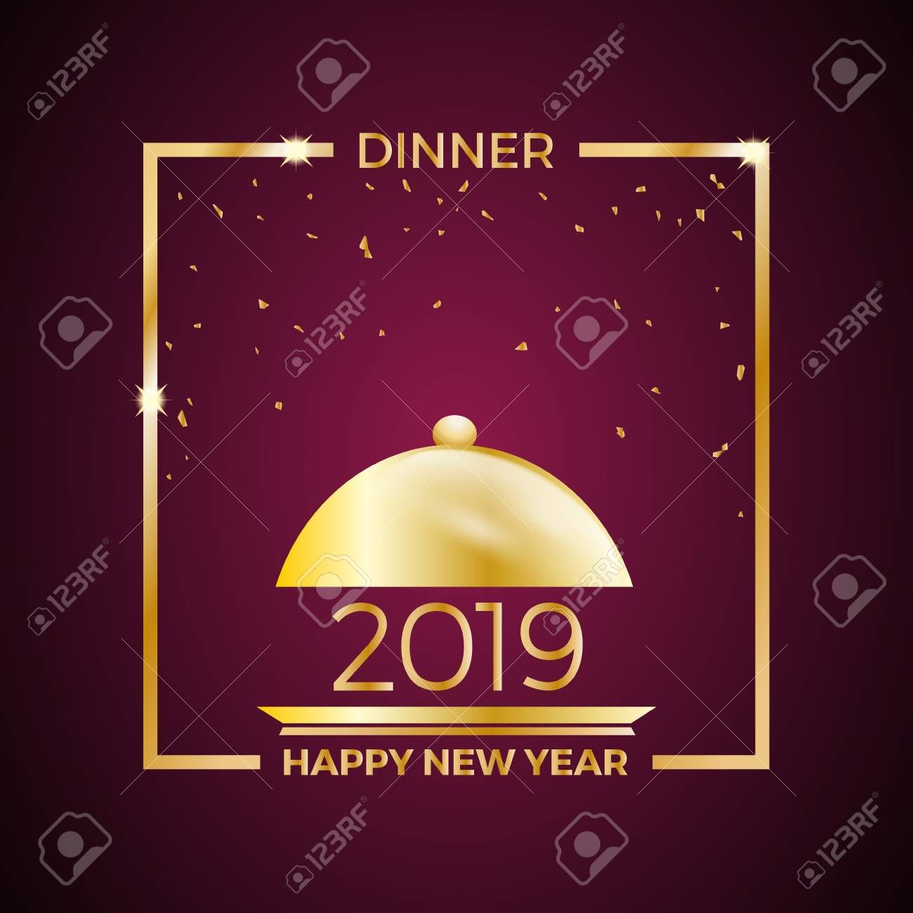 2019, New Years Eve dinner, template for poster, cover and