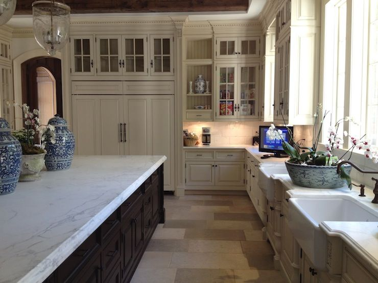 Gentil The Enchanted Home: Two Tone French Kitchen With Ivory Glass Front Kitchen  Cabinets