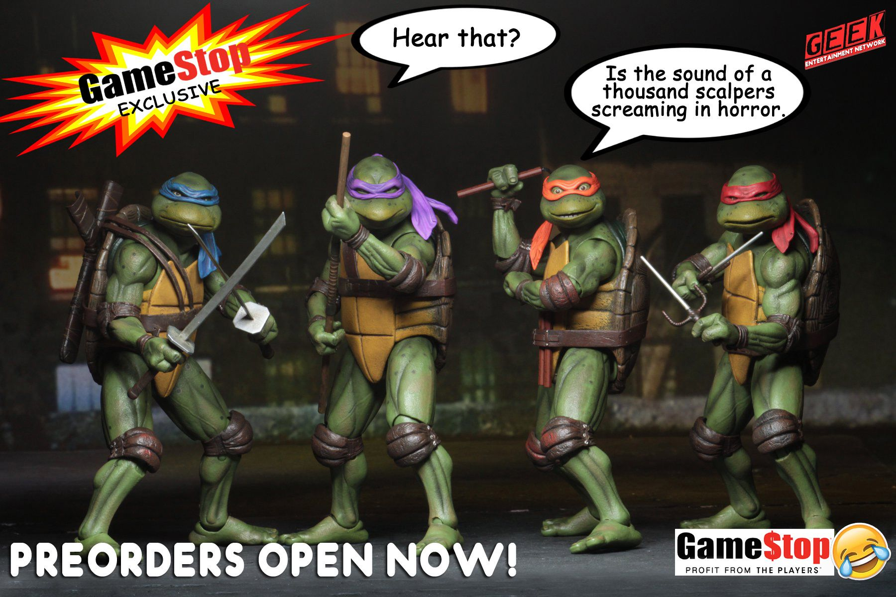 Neca ninja turtles will be available at gamestop in the us