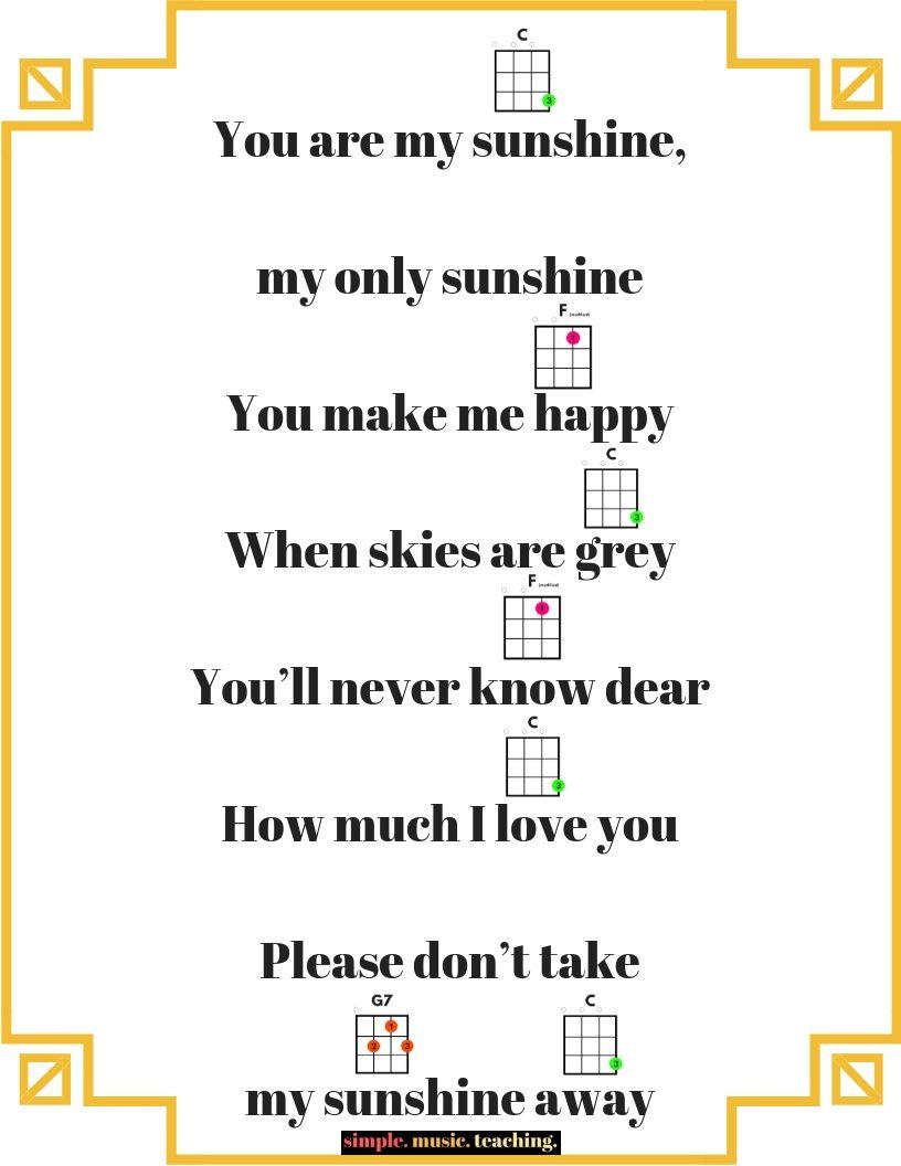 You Are My Sunshine Ukulele Chord Poster Freebie With Images