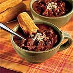 Chunky Beef Chili Recipe | MyRecipes.com: The kids really liked this simple, no-nonsense chili. Maybe it's the lack of vegetables. :)