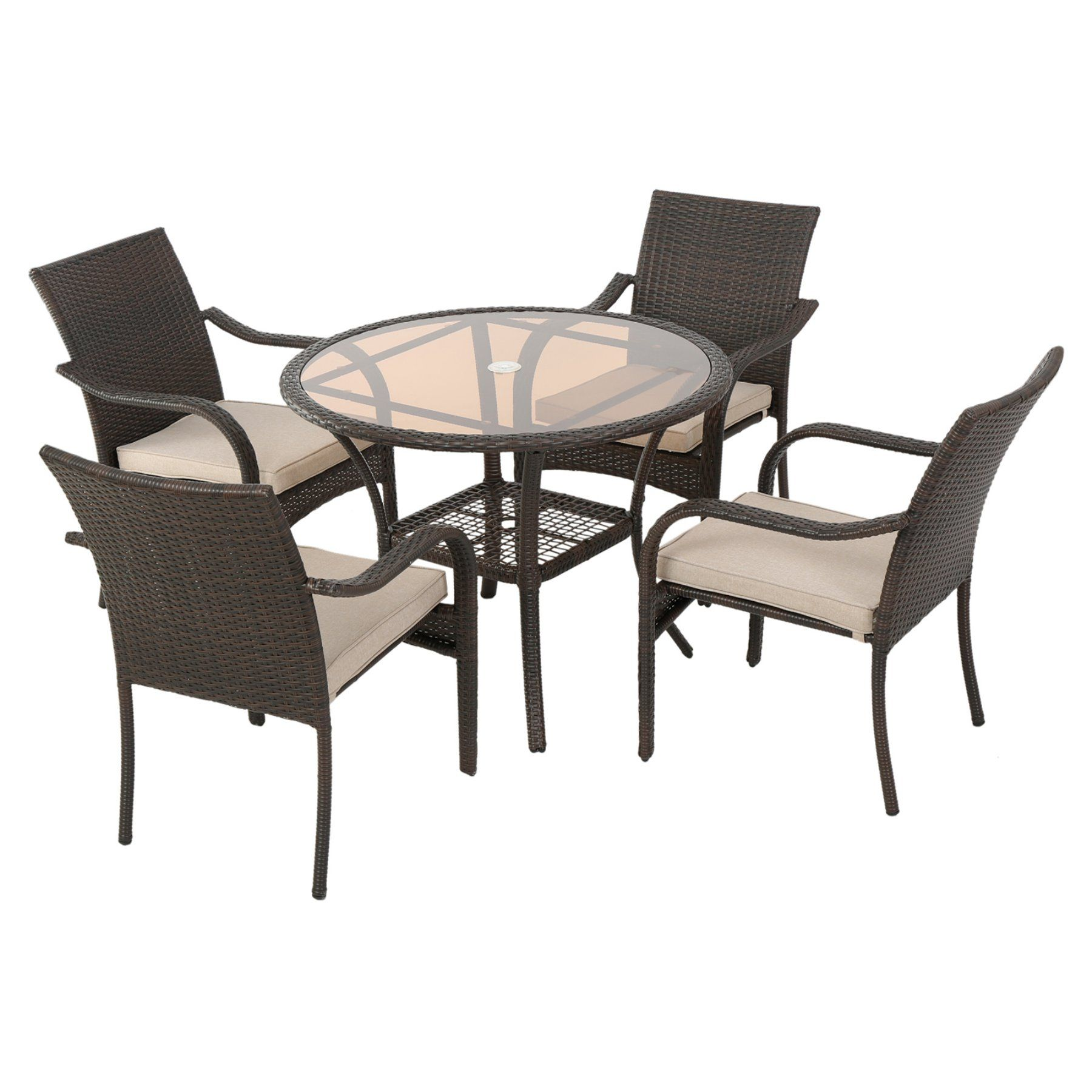 Outdoor best selling home decor furniture bailey wicker 5 piece round patio dining set with cushion 296748