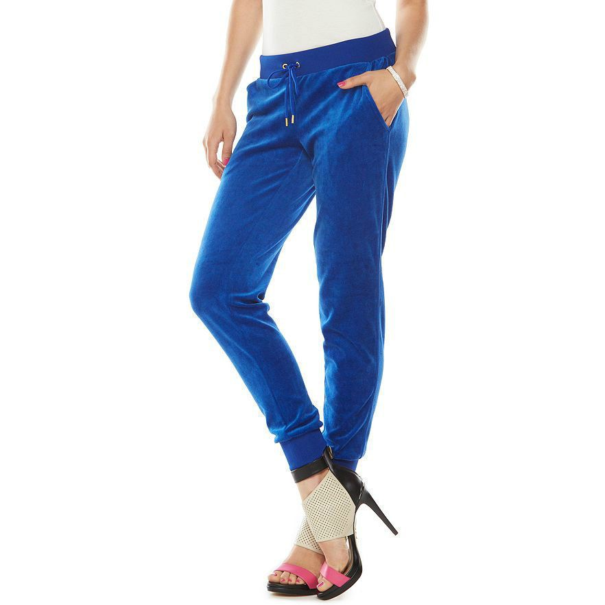 5160654c4aae NWT JUICY COUTURE Tracksuit Pants Women Blue Jogger Velour size Large   JuicyCouture  CasualPants