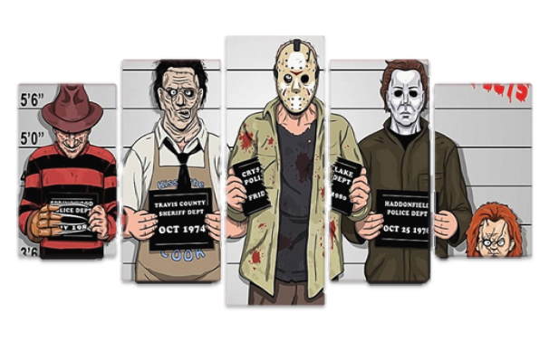 You'll love this daring and out-of-the-box artwork of famous movie serial killers Freddy Krueger, Leatherface, Jason and Michael Meyers in a police line up. PRODUCT HIGHTLIGHTS - 5 piece canvas print set of police line up of horror movie killers. - Vivid color HD ink on quality fiber canvas. - Eco-friendly, environmentally-conscious canvas material, paints, ink. - Waterproof. Fadeproof. - Framed version available/optional. Size(s): Size 1: 8x14x2Pcs + 8x18x2Pcs + 8x22x1Pcs Size 2: 12x20x2Pcs + 12x28x2Pcs + 12x32x1Pcs Size 3: 16x24x2Pcs + 16x32x2Pcs + 16x39x1Pcs - FREE SHIPPING SPECIFICATIONS Home Decor For: Wall, Living Room, Bedroom, Dining Room, Kitchen, Bathroom, Media Room, Nursery, Office, Apartment, Loft Home Accent Type: Artwork Decor Style: Modern, Creative Parts/Accessories: 5 Piece Canvas Print, Unframed or Framed Material: Canvas Color: Multi-color Theme: Unique Home Decor Shop, Art Canvas Sets for Sale, Canvas Prints for Sale, Modern Artwork for Sale, Cheap Artwork Shop, Buy Discount Wall Art Online, Shop Cheap New Artwork, Living Room Art, Where to Buy Art Prints, Movie Themed Wall Art, Horror Movie Canvas Prints, Movie Killers Artwork, Nightmare on Elm Street Movie Poster, Halloween Movie Artwork, Gothic Wall Art, Pattern: Movie Villains Canvas Print Artwork for Wall. Scene: Canvas Print Set of Freddy Krueger, Leatherface, Jason and Michael Meyers in Police Line Up. Size(s): (Inches) - 8x14x2Pcs + 8x18x2Pcs + 8x22x1Pcs - 12x20x2Pcs + 12x28x2Pcs + 12x32x1Pcs - 16x24x2Pcs + 16x32x2Pcs + 16x39x1Pcs Features: Framed Version (Each canvas comes stretched over wooden frame and ready to hang.) Unframed Version (Canvas artwork only.) Estimated Shipping Time: 12 to 20 Days MORE ABOUT THIS PRODUCT