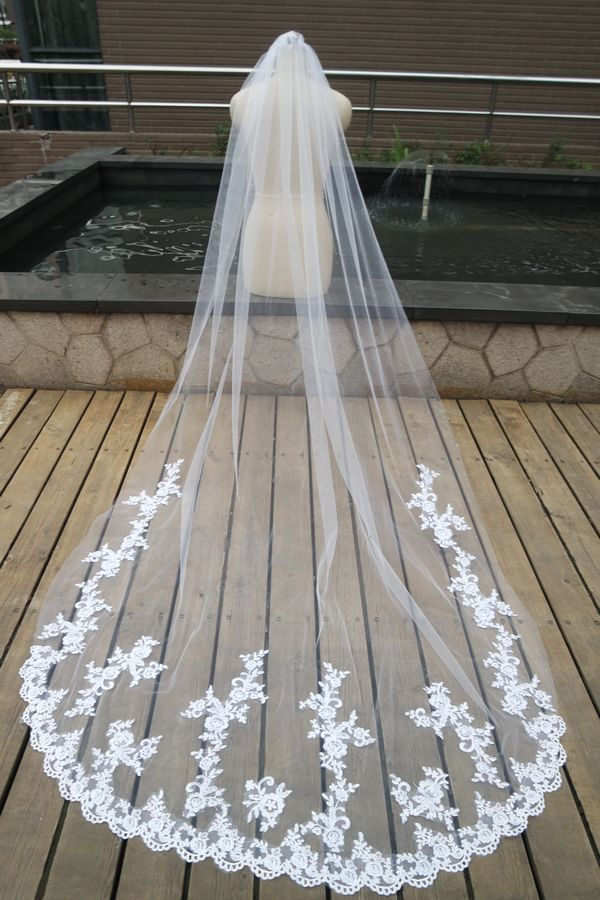 White Ivory Cathedral Length Lace Edge Bride Wedding Bridal Long 150CM ZS