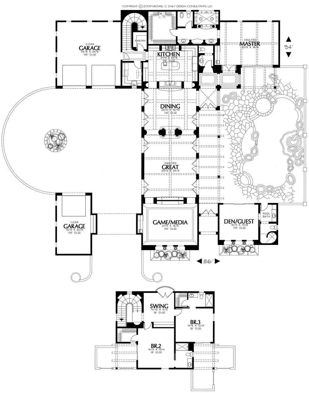 House DesignHome Plans House Plan Courtyard Home Plansanta Fe