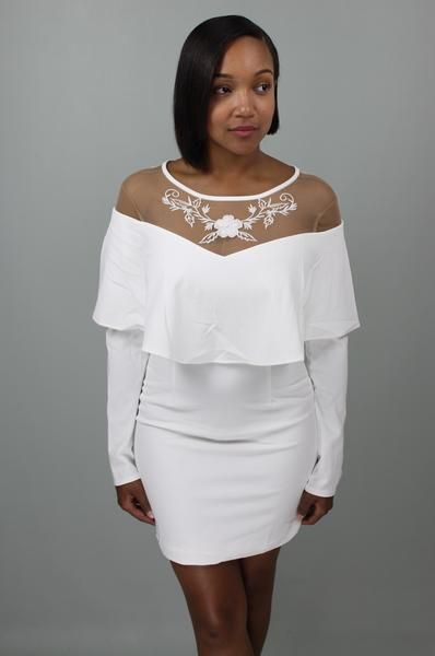 Whitney Winter White Flounce Dress: $58