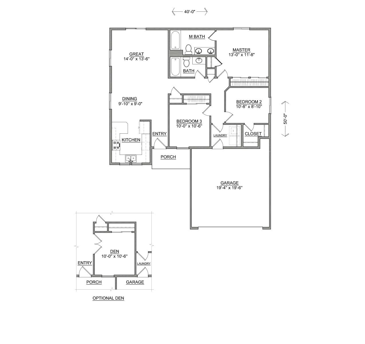 The Clearwater | 1235sf KITCHEN IN FRONT! | Floor Plans | Pinterest ...