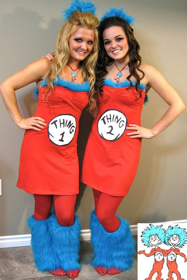 diy halloween costume thing 1 and thing 2 costumes use red dress and tights - Halloween Tights For Women