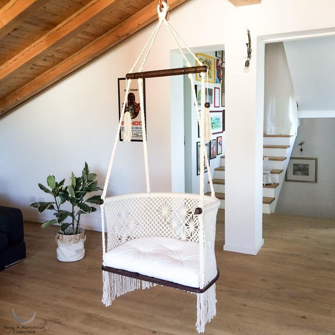 Macrame hanging chair in cream dark wood pinterest hanging