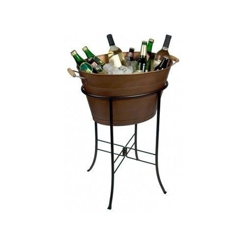 Exceptionnel Antiqued Copper Party Ice Tub W Stand Beverage Cooler Bucket Beer Wine Patio  Bar Free Shipping