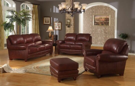 Sectional Sleeper Sofa pc set Genuine Burgundy leather Includes Sofa Loveseat Chair u ottoman IN STOCK