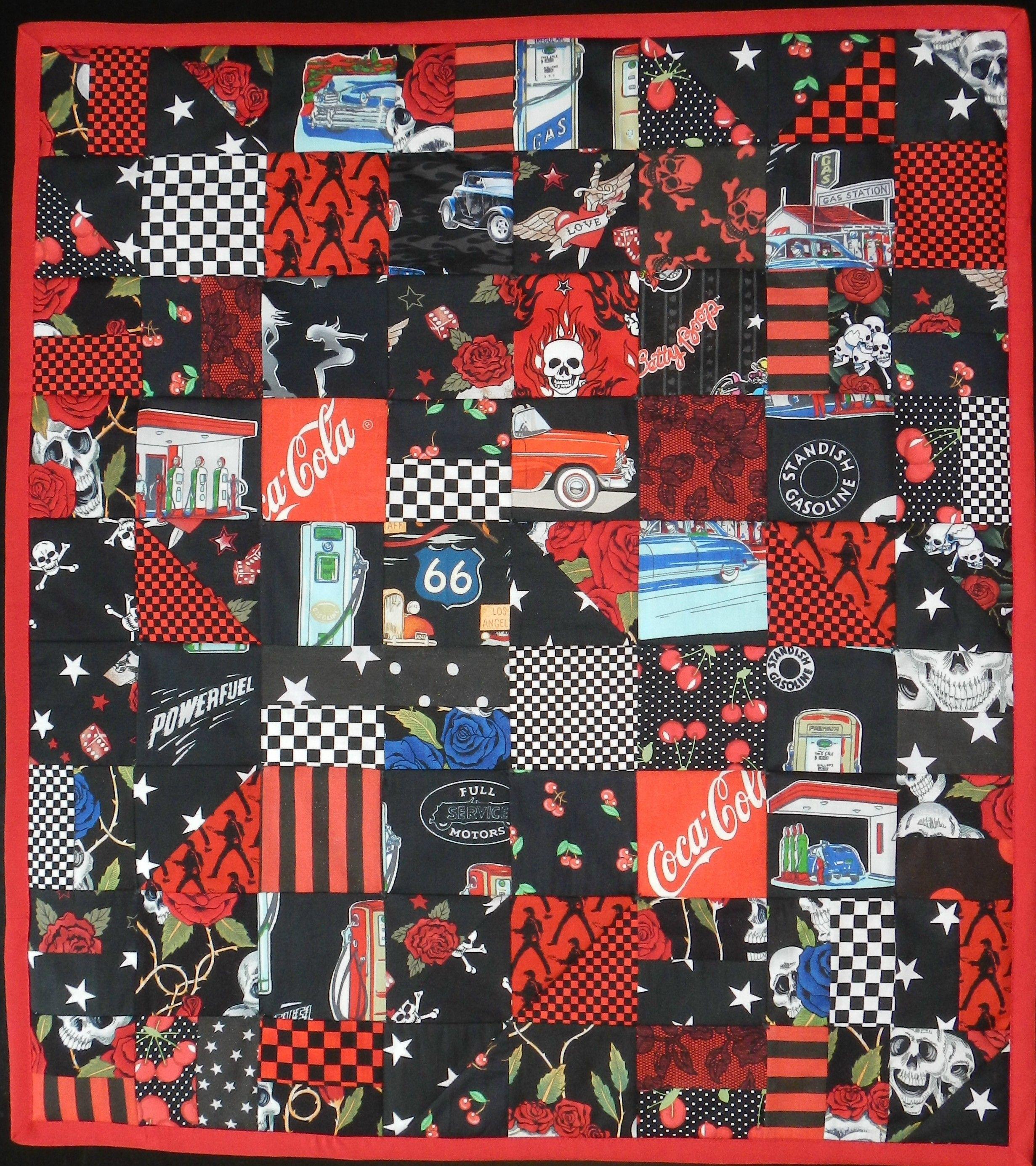 My handmade baby quilt! Blanket toddler Chevrolet hot rod custom roadster gearhead knucklehead!