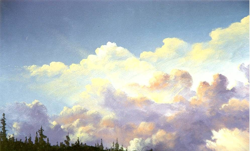 Beginner Level Instruction From Tv Artist Jerry Yarnell On How To Paint Exciting Clouds And Thunderheads Cloud Painting Sky Painting Watercolor Clouds