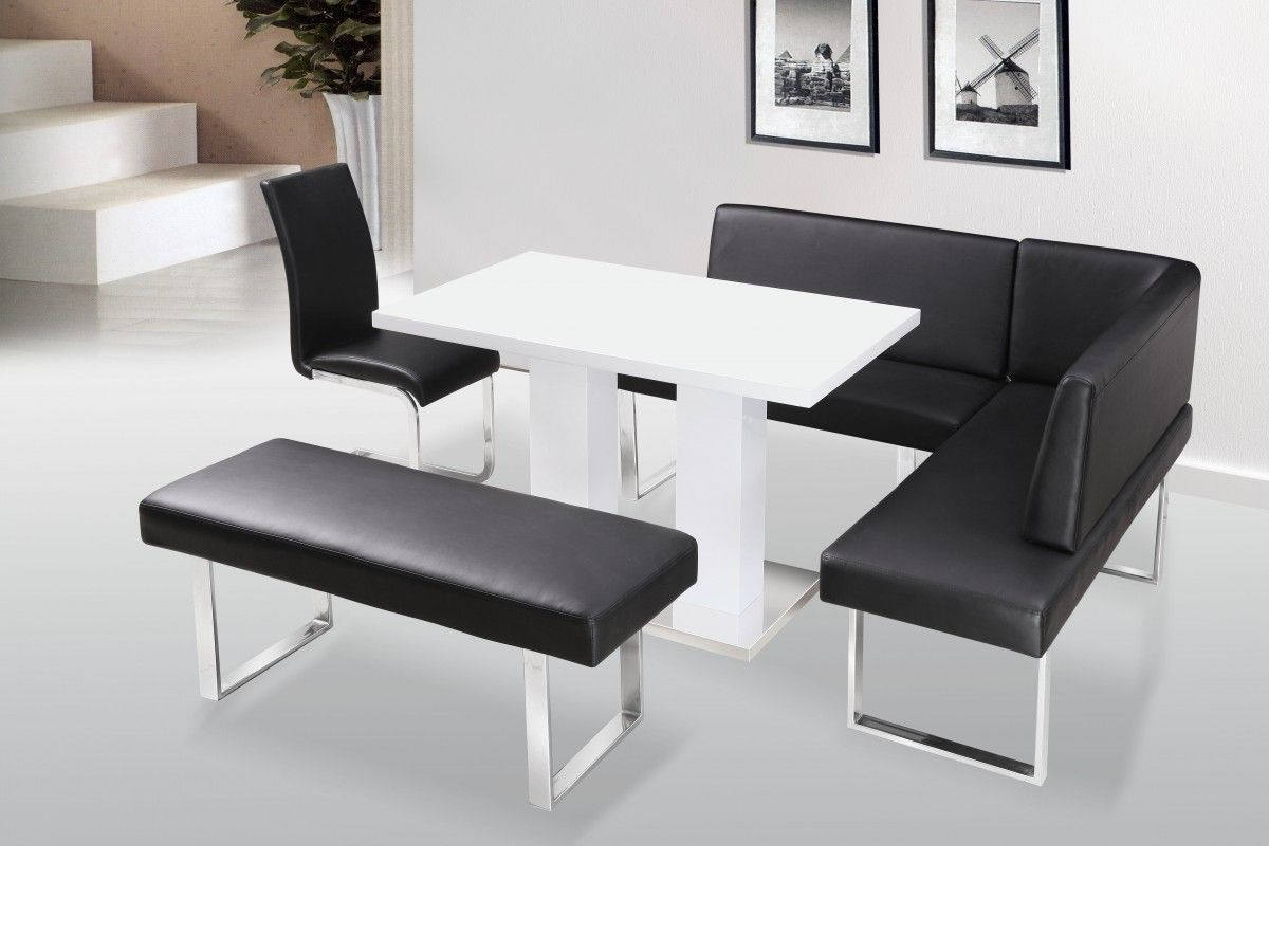 Faux Leather Corner Bench With White Table | Bench ...