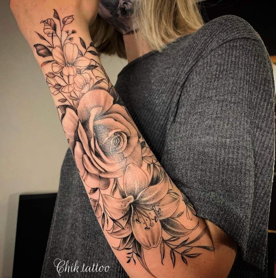 Feminine and floral design for chik tattoo tattoo. Instant download of stencil tattoo design Mandala rose 3