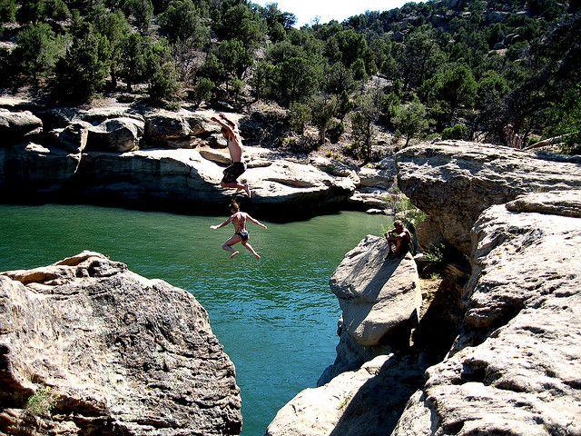 Cliff Jumping At Navajo Lake Nm New Mexico Usa New Mexico New