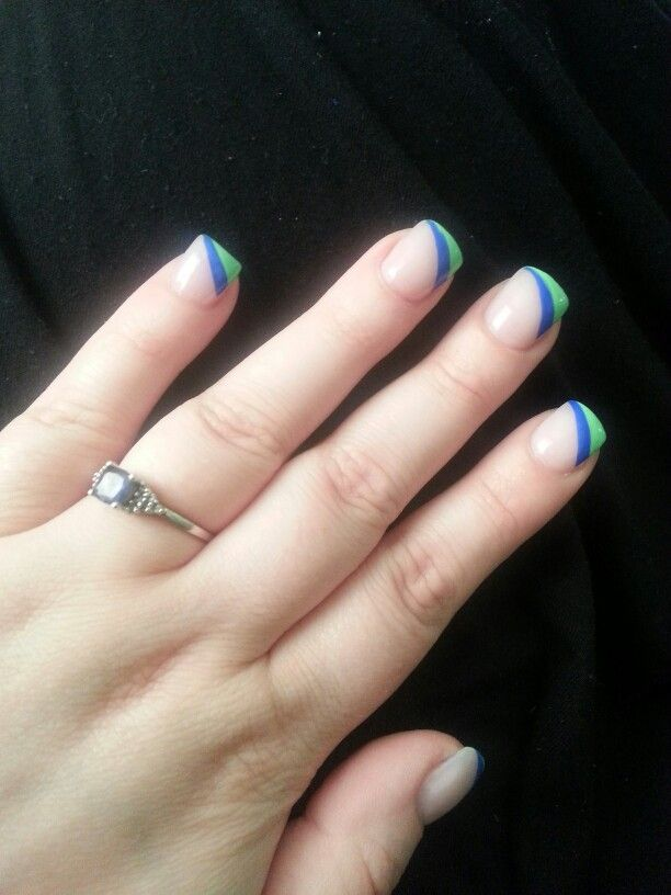 Blue Green Tropical Manicure Nail short acrylic | Actually Angela ...