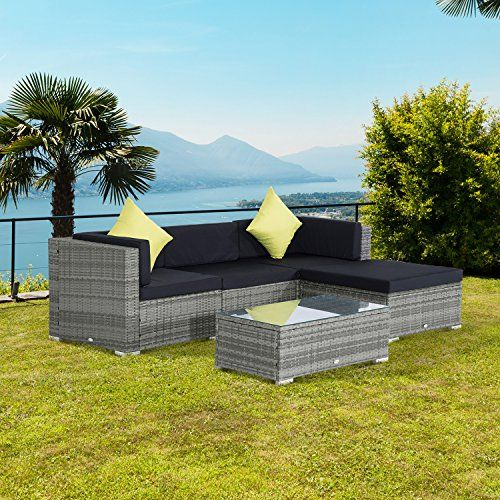 Outsunny pc Rattan Outdoor Garden Patio Furniture Lounger Sofa