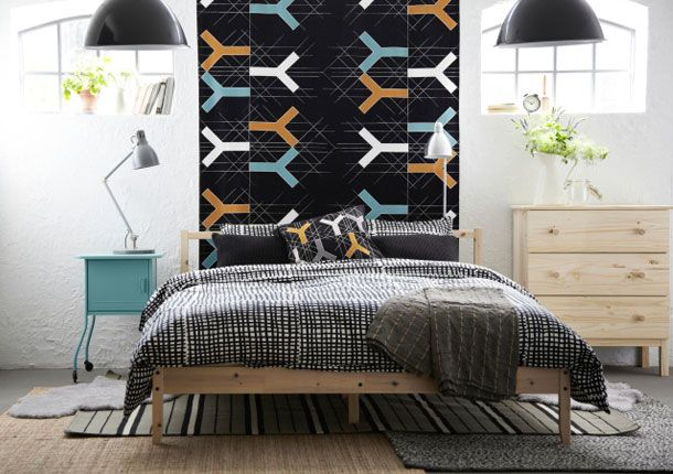ikea sterreich inspiration schlafzimmer fjellse bettgestell mit bj rnloka ruta bettw sche. Black Bedroom Furniture Sets. Home Design Ideas