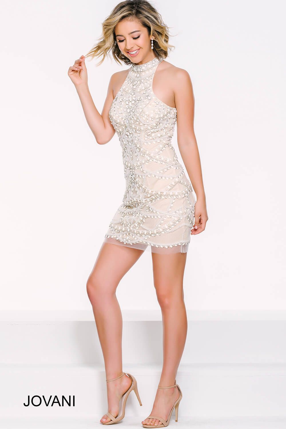 Nude Halter Beaded Fitted Dress 41053 Perfect Prom 2016 Cocktail Dresses Short