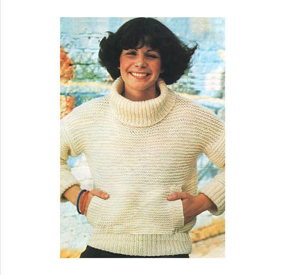 193d7708e PDF Knitting Pattern   Women s 14ply Garter Stitch   Easy knit   Sloppy Joe  Sweater   Knitting pattern   Instant Download PDF   Post FREE