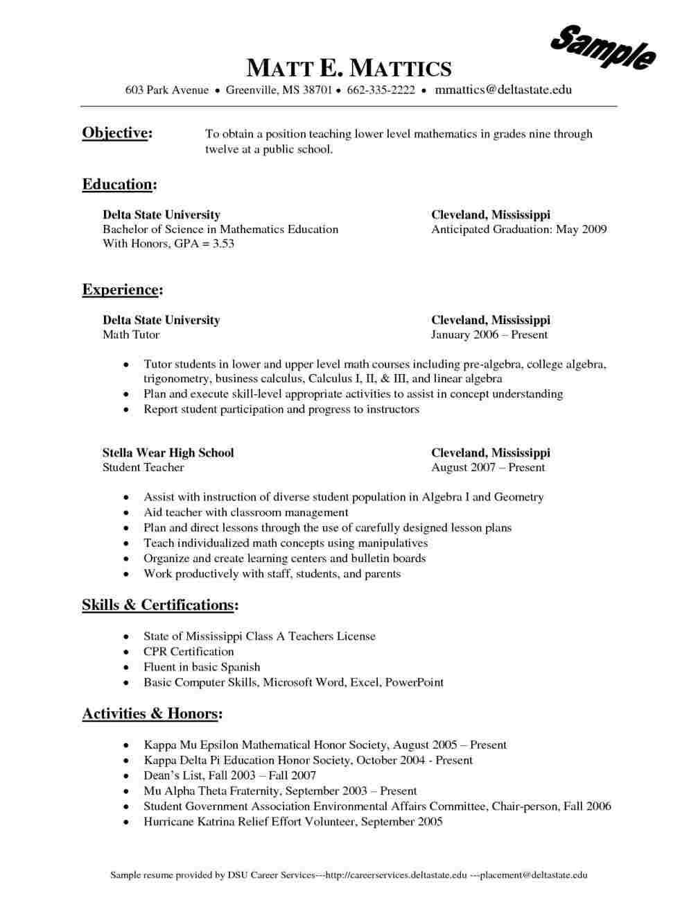 Polaris Office 5 Math Tutor Sample Resume Lesson Plan Format