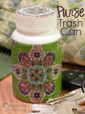 DIY mini purse trash can- no more gum wrappers and such hanging out on the bottom of my purse!