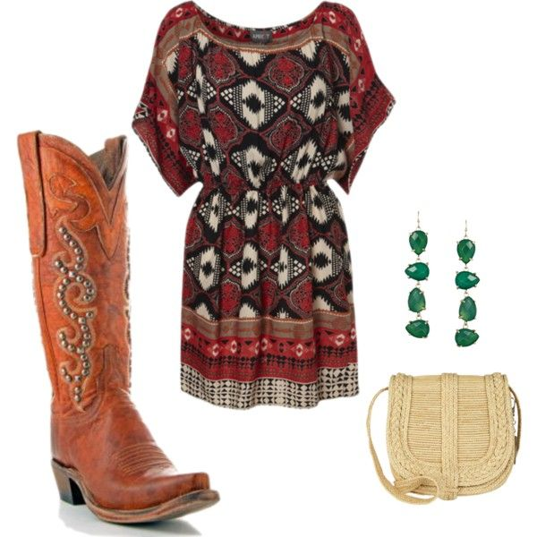"""""""Throw on your cowboy boots before touring around town this weekend"""" by allensboots on Polyvore"""