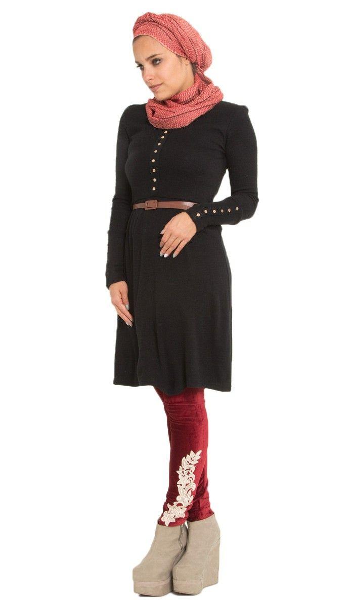 Samiya Long Knit Black Islamic Tunic Dress | Islamic Clothing at ...