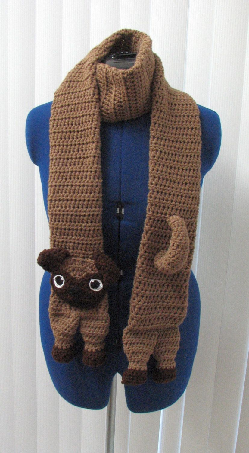 Made to Order Crochet Pug Scarf by DonnasCrochetDesigns on Etsy ...
