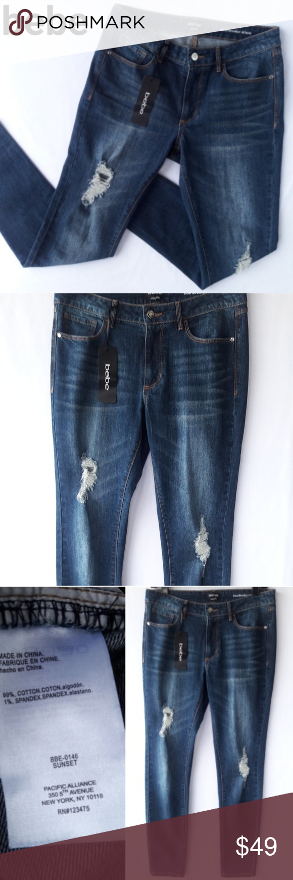 7e2a72ab90c BEBE💔Heartbreaker High Rise Skinny Jeans Bebe Heartbreaker Skinny Jeans  Size 29 • New with Tags • High waisted/Ankle cropped • Distressed/ripped  medium ...