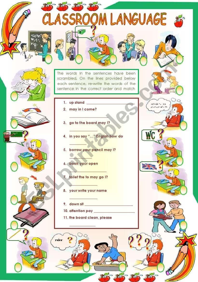 Classroom Language Esl Worksheet By Vanda51 Apprendre L Anglais Salle De Classe Vocabulaire Anglais